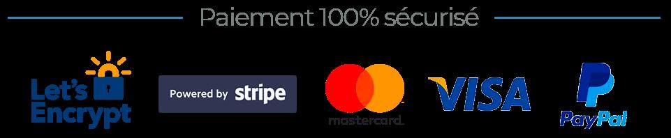 Nombreux modes de paiement sécurisés disponibles : PayPal, Stripe...